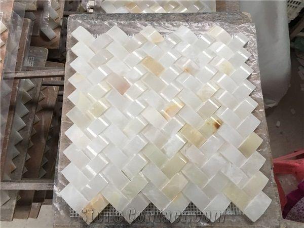 Stone Mosaic Tile Back Splash White