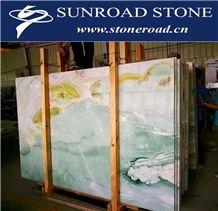 Blue Sky / Blue Onyx Bookmatch Background Stone Covering Slab & Tile