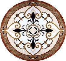 Crema Marfil Beige Marble Waterjet Pattern Modern Style Medallion