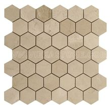 Crema Marfil Marble Mosaic Tile Hexagon 2 Wall and Floor Covering