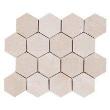 Crema Marfil Marble Mosaic Tile Hexagon 3 Wall and Floor Covering