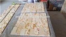 Yellow Marble Stacked Stone Veneer Ledge Stone for Exterior Wall