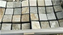 Grey Quartzite Pavers Driveway 3cm Cube Paving Stone Mesh Cobblestone