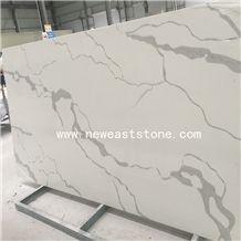 Engineered Stone Marble Look Calacatta White Quartz Stone Slabs