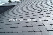 Natural Fish Scale Shaped Black Slate Roofing Tiles for Roof Coating