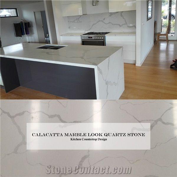 Wholesale Kichen Countertop Design Calacatta Marble Look White Quartz Stone