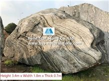 Granite Landscaping Boulders with Curved Words,Stone Gate Boulders