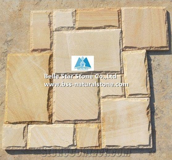 Yellow Sandstone Mushroom Stone Wall Cladding Garden Pillar And Wall