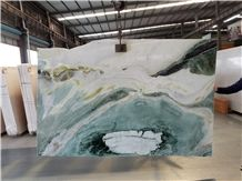 China Marble Dreaming Green Yellow&Green Polished Slabs Laxury Stone