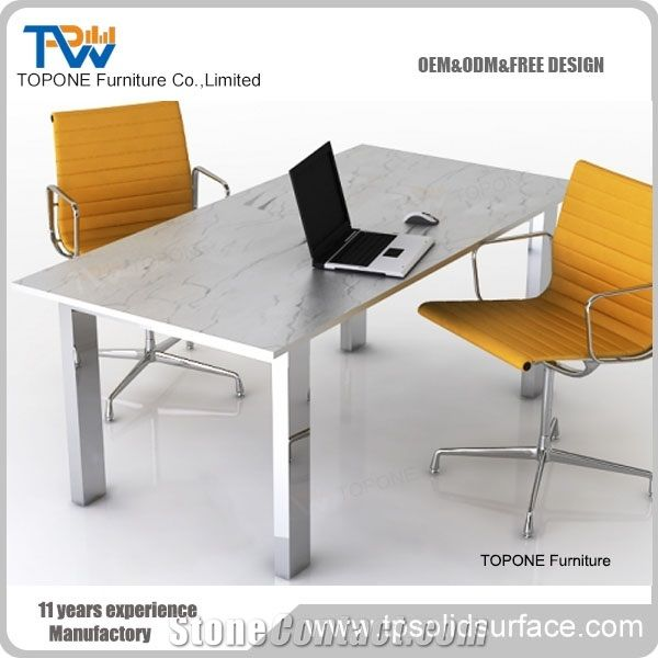 Artificial Marble Office Desk With Conderence Chairs