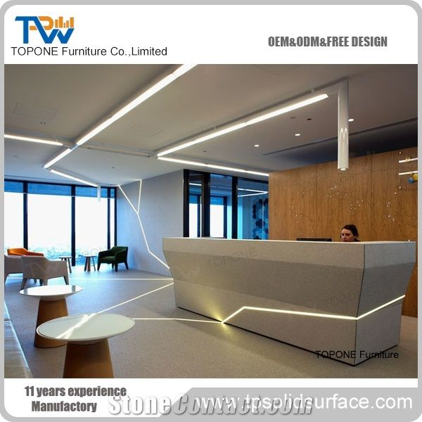 Artificial Marble Stone Front Desk Design For Office Reception Furniture