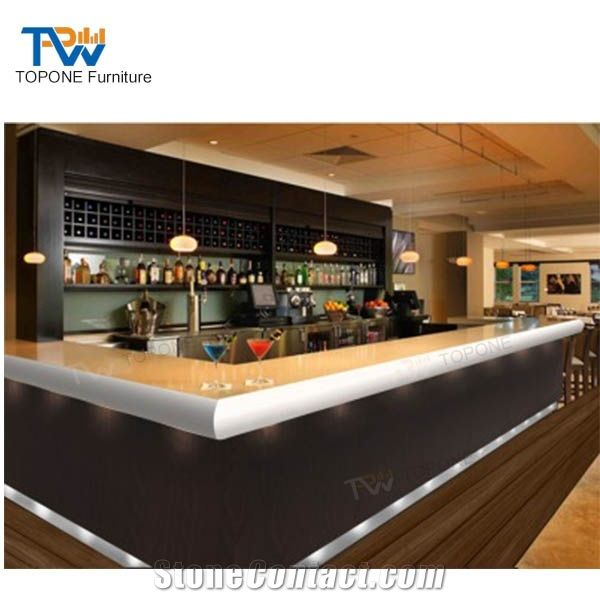 Luxury Led Lighted Marble Stone Top, Restaurant Bar Furniture