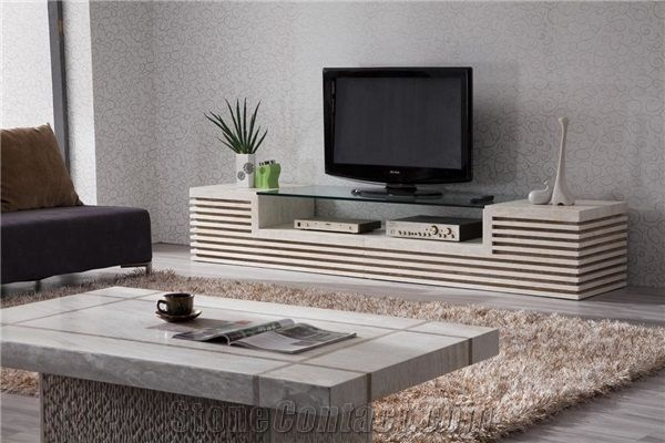 Beige Limestone Tv Stand Table Furniture Cream Stone