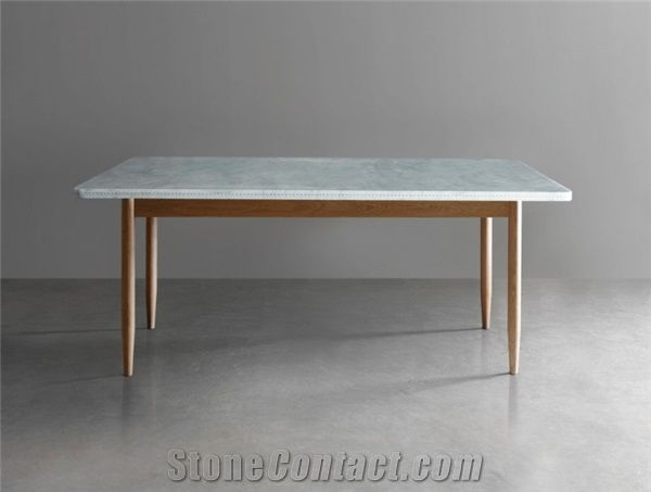 Bianco Carrara Marble Table Living Room Stone Furniture Modern Style Tabletop