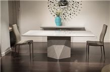 Bianco Carrara White Marble Rectangular Dinner Table,Interior Tabletop Furniture