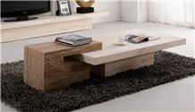 Brown Travertine Tv Stand Table Living Room Stone Furniture,Modern Style