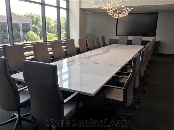 Nature Calacatta White Marble Office Conference Table For Ten People - White marble conference table