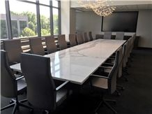 Nature Calacatta White Marble Office Conference Table for Ten People