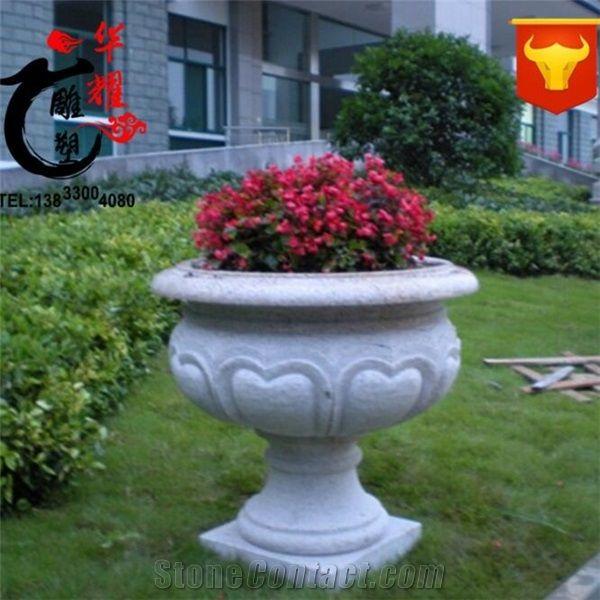 Garden Outdoor Natural Stone Planters Flower Pot Landscaping Vase