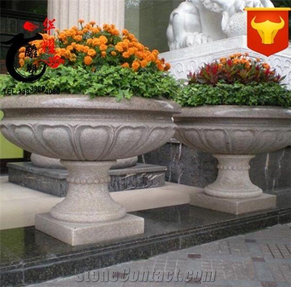 Granite Stone Vase Garden Outdoor Natural Planters Flower Pot