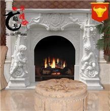 Home Decoration Natural Marble Sculptured Fireplace Cover Surround