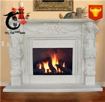 Indoor Decoration Handcarved Wall Mounted Marble Fireplace Cover