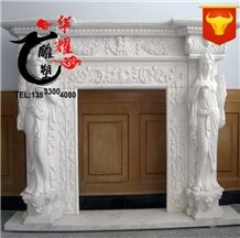 Indoor Decoration Handcarved Wall Mounted White Marble Fireplace