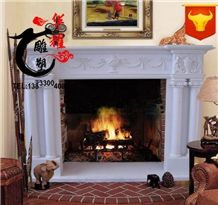 Indoor Decoration Handcarved White Marble Fireplace Surround