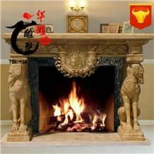Natural Stone Marble Sculptured Fireplace Cover Surround Accessories