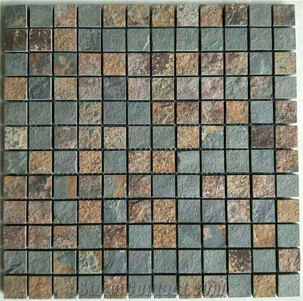 Rusty Slate Mosaic Sheet Tiles Wall Cladding Decoration Floor Mosaics