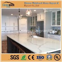 Calacatta White Quartz Stone Kitchen Countertop
