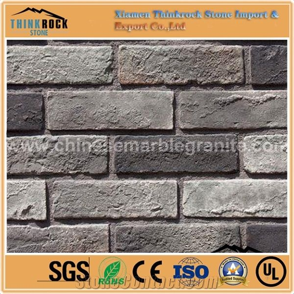 Faux Stone Face Pavers Black Brick Wall