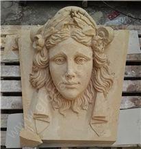 France Beige Limestone Human Buts Sculpture