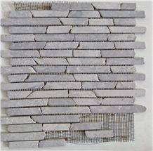 Handcrafted Marble Linear Mosaic Glued on Net