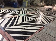 Carrara White and Black Marquina Marble Waterjet Medallions Floor Tile