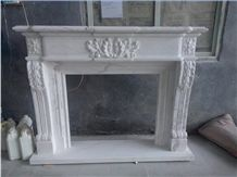 White Marble Flower Handcarved Fireplace Mantel / Fireplace Hearth