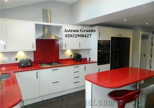 Red Starlight Quartz Kitchen Worktop At Affordable Price In London