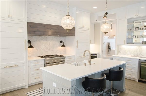 Factory Price Solid White 3cm Quartz Countertops From China