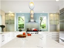 Solid White Grey Engineered Stone Quartz Kitchen Countertops