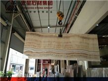 China Beige Onyx Slabs&Tiles Colorful Bookmatch Straight Grey Veins