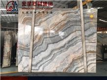 China Polished Roman Impression Marble Slabs&Tiles Brown&Blue Color