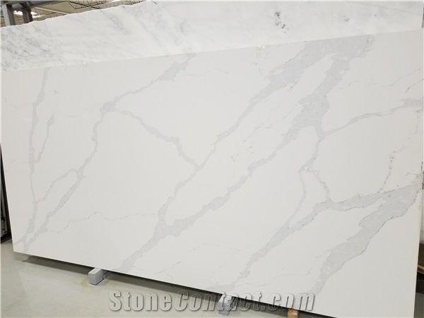 Qm9726 Calacutta Rhino Quartz Master Engineered Marble Slabs