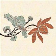 Amazon Green Granite Lotus Flower Waterjet Floor Medallion for Lobby