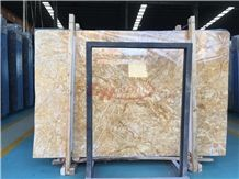 Amber Beige Gold Marble Slab Wall Covering Pattern Cladding Panel