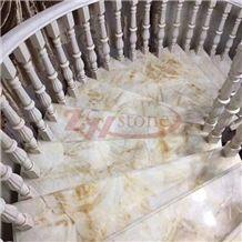 Golden Jade Marble Spiral Stair Tiles for Villa Decoration