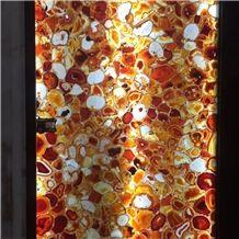 Luxury Orange Color Semiprecious Laminated with Glass Backlit