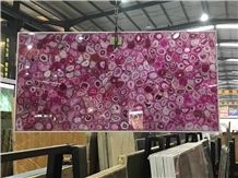 Pink Semiprecious Laminated with Glass for Wine Bar Top