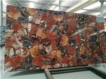 Red Jasper Semiprecious Stone Gemstone Laminated Panels with Glass