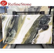 Chinese Ink Painting Green Marble Slabs Tiles for Tv Backgrounds