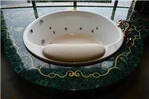 Green Malachite Gemstone Sink Top,Semi Precious Stone Vanity Tops